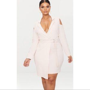 PrettyLittleThing cold shoulder pink blazer dress